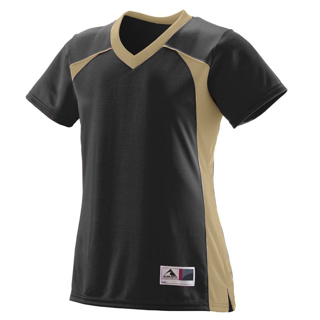Augusta 263 Girls Victor Replica Jersey - Black Vegas Gold - HIT A Double