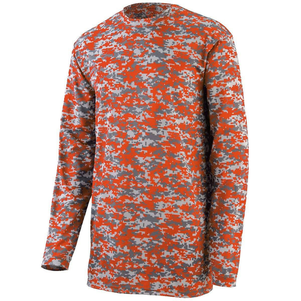 Augusta 2789 Camo Wicking Long Sleeve T-Shirt Youth - Orange Camo - HIT A Double