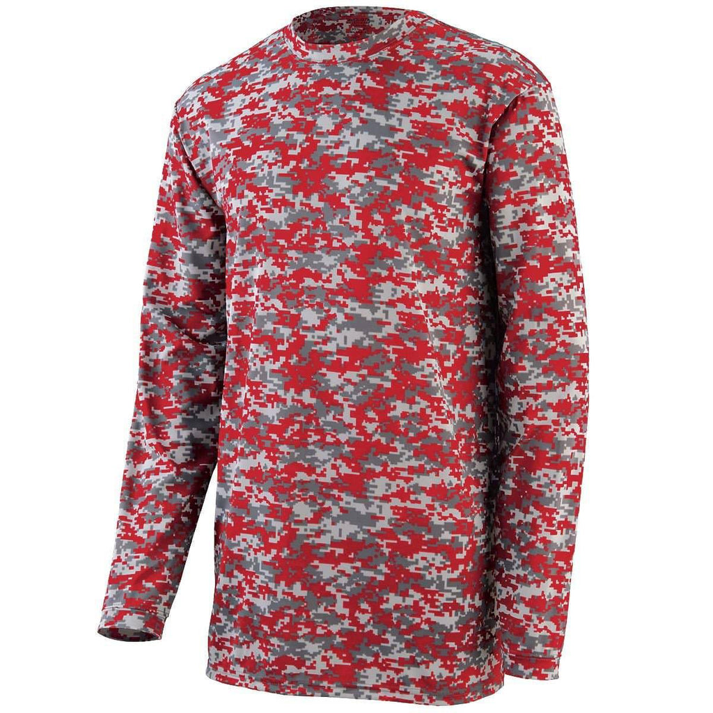Augusta 2789 Camo Wicking Long Sleeve T-Shirt Youth - Red Camo - HIT A Double