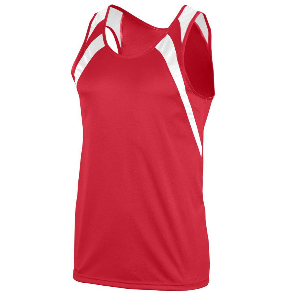 Augusta 311 Wicking Tank with Shoulder Insert - Red White - HIT A Double