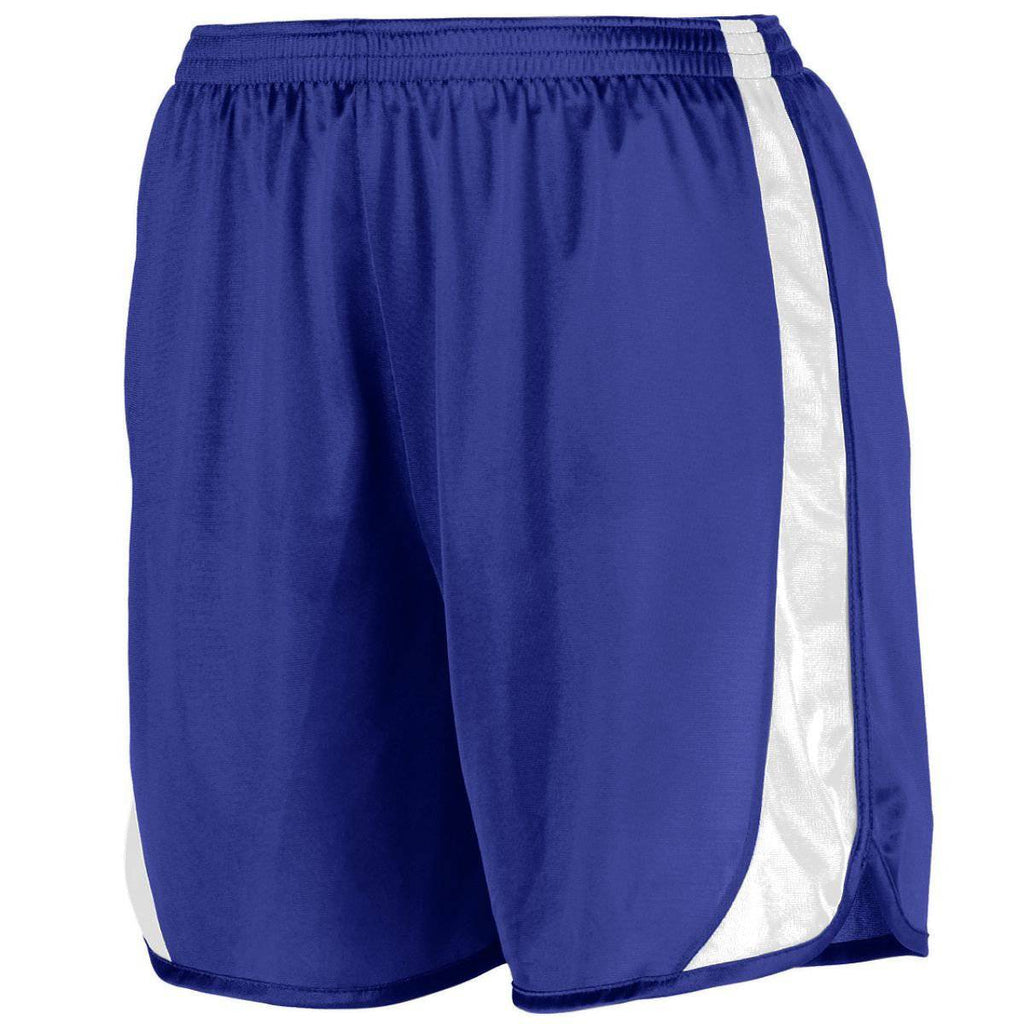 Augusta 328 Wicking Track Short with Side Insert Youth - Purple White - HIT A Double