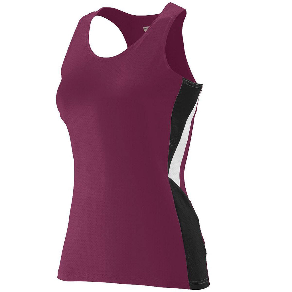 Augusta 334 Ladies Sprint Jersey - Maroon Black White - HIT A Double