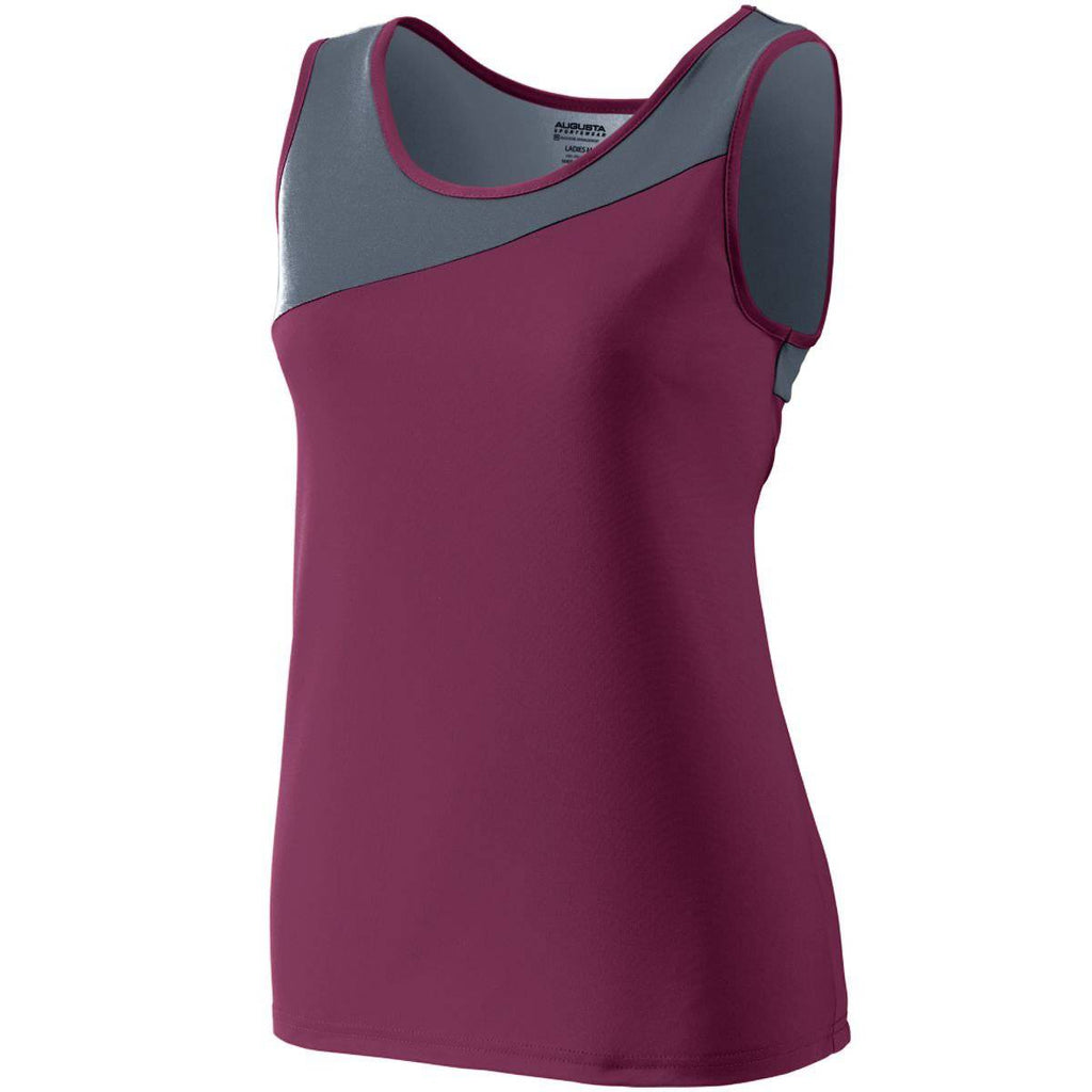 Augusta 354 Ladies Accelerate Jersey - Maroon Dark Gray - HIT A Double