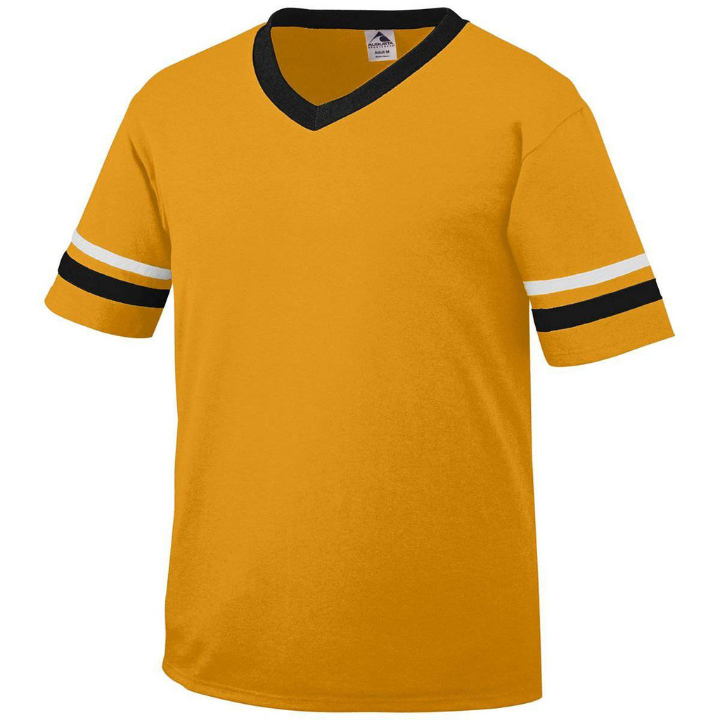 Augusta 361 Sleeve Stripe Jersey - Youth - Gold Black White - HIT A Double