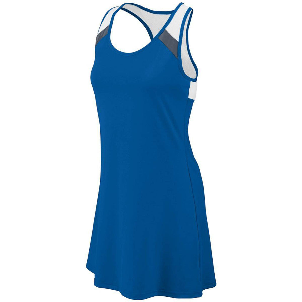 Augusta 4000 Ladies Deuce Dress - Royal Dark Gray White - HIT A Double