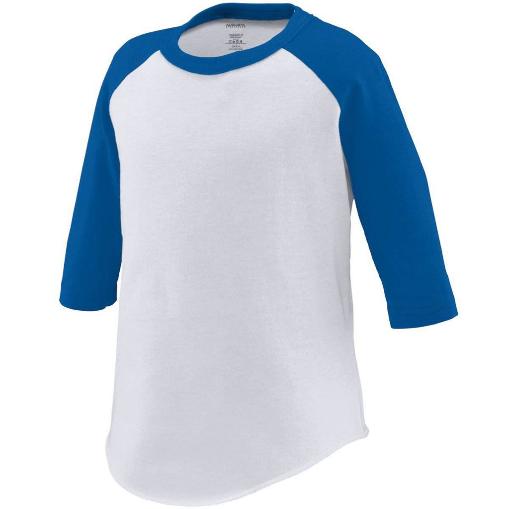 Augusta 422 Baseball Jersey - Toddler - White Royal - HIT A Double