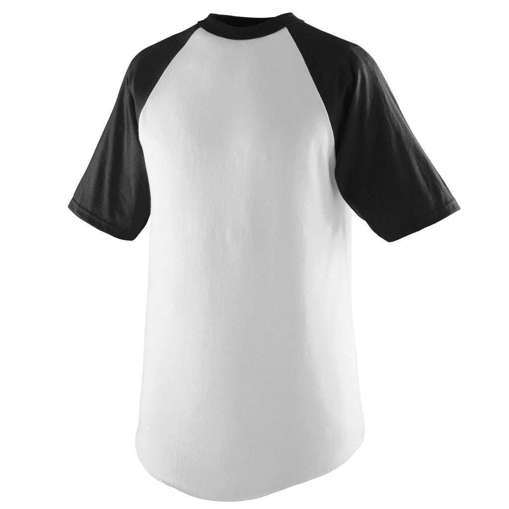 Augusta 424 Short Sleeve Baseball Jersey - Youth - White Black - HIT A Double