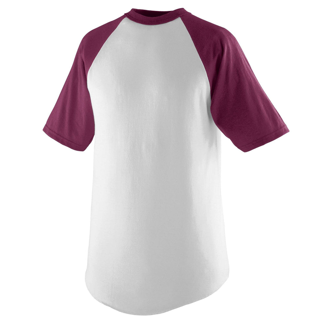 Augusta 424 Short Sleeve Baseball Jersey - Youth - White Maroon - HIT A Double