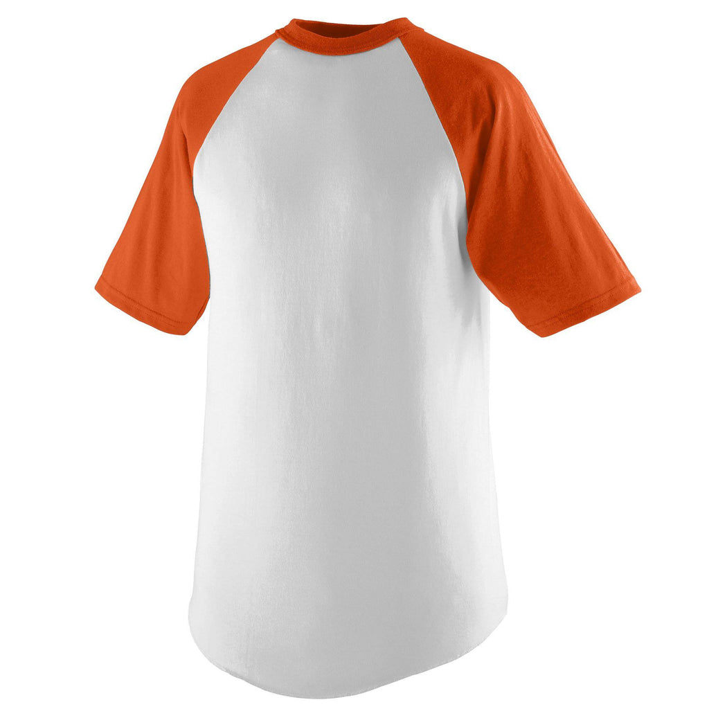 Augusta 424 Short Sleeve Baseball Jersey - Youth - White Orange - HIT A Double
