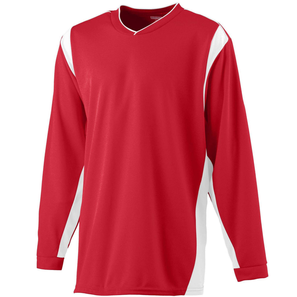 Augusta 4600 Wicking Long Sleeve Warmup Shirt - Red White - HIT A Double