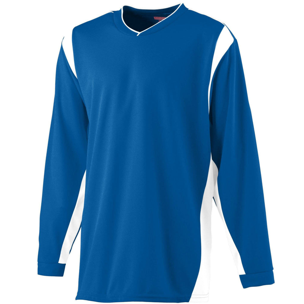 Augusta 4600 Wicking Long Sleeve Warmup Shirt - Royal White - HIT A Double