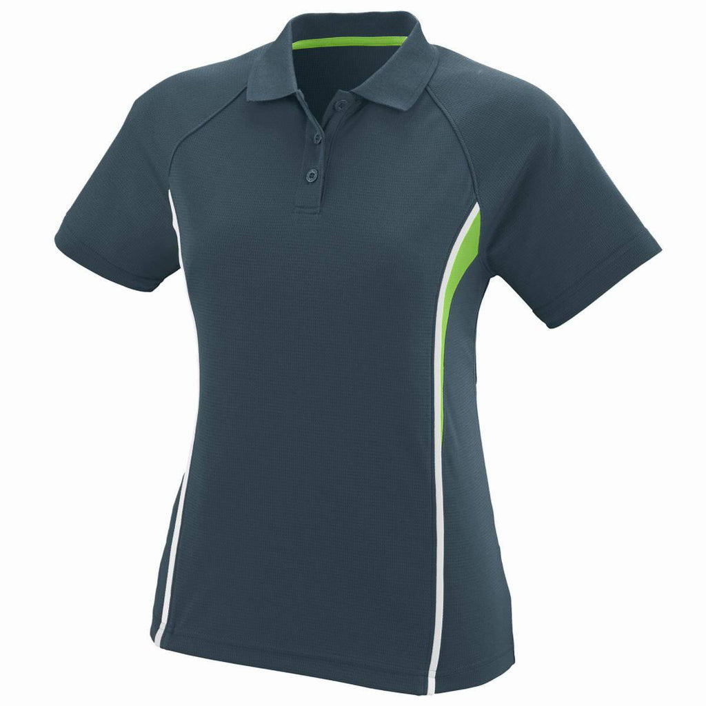 Augusta 5024 Ladies Rival Sport Shirt - Slate Lime White - HIT A Double