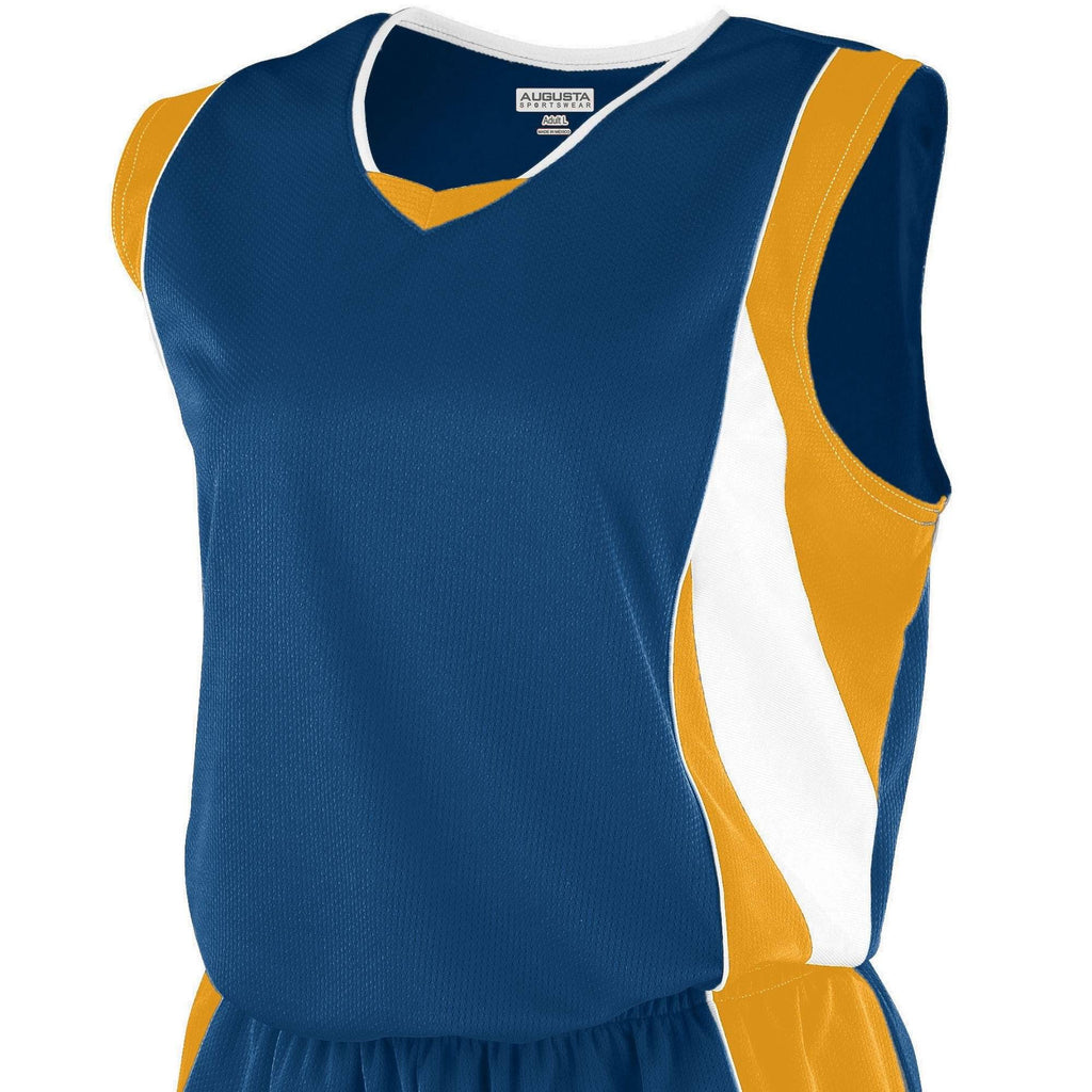 Augusta 516 Girls Wicking Mesh Extreme Jersey - Navy Gold White - HIT A Double