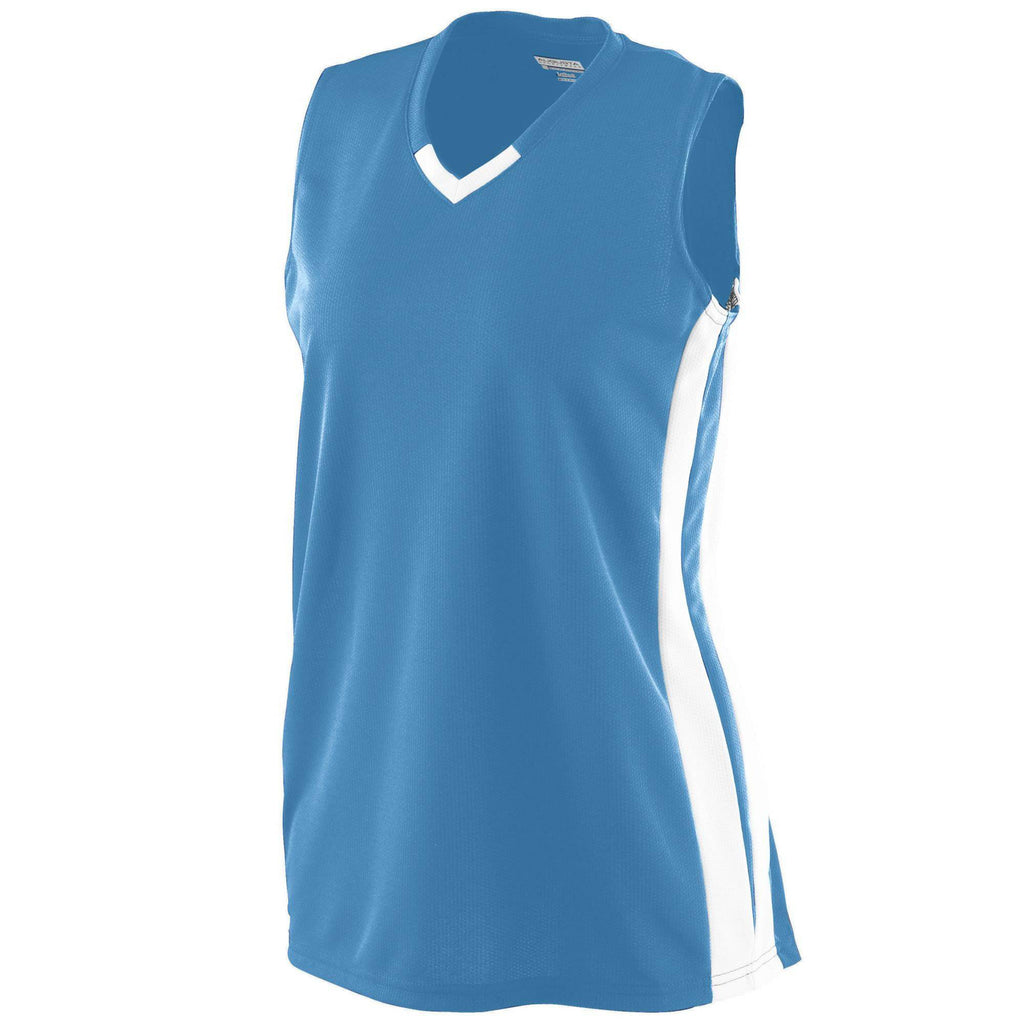 Augusta 527 Ladies Wicking Mesh Powerhouse Jersey - Columbia Blue Wh - HIT A Double