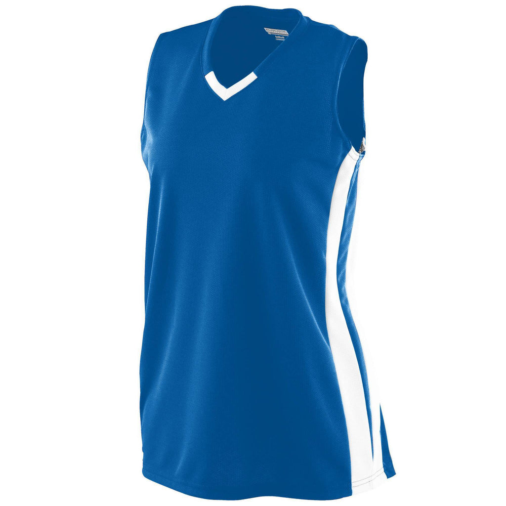 Augusta 527 Ladies Wicking Mesh Powerhouse Jersey - Royal White - HIT A Double