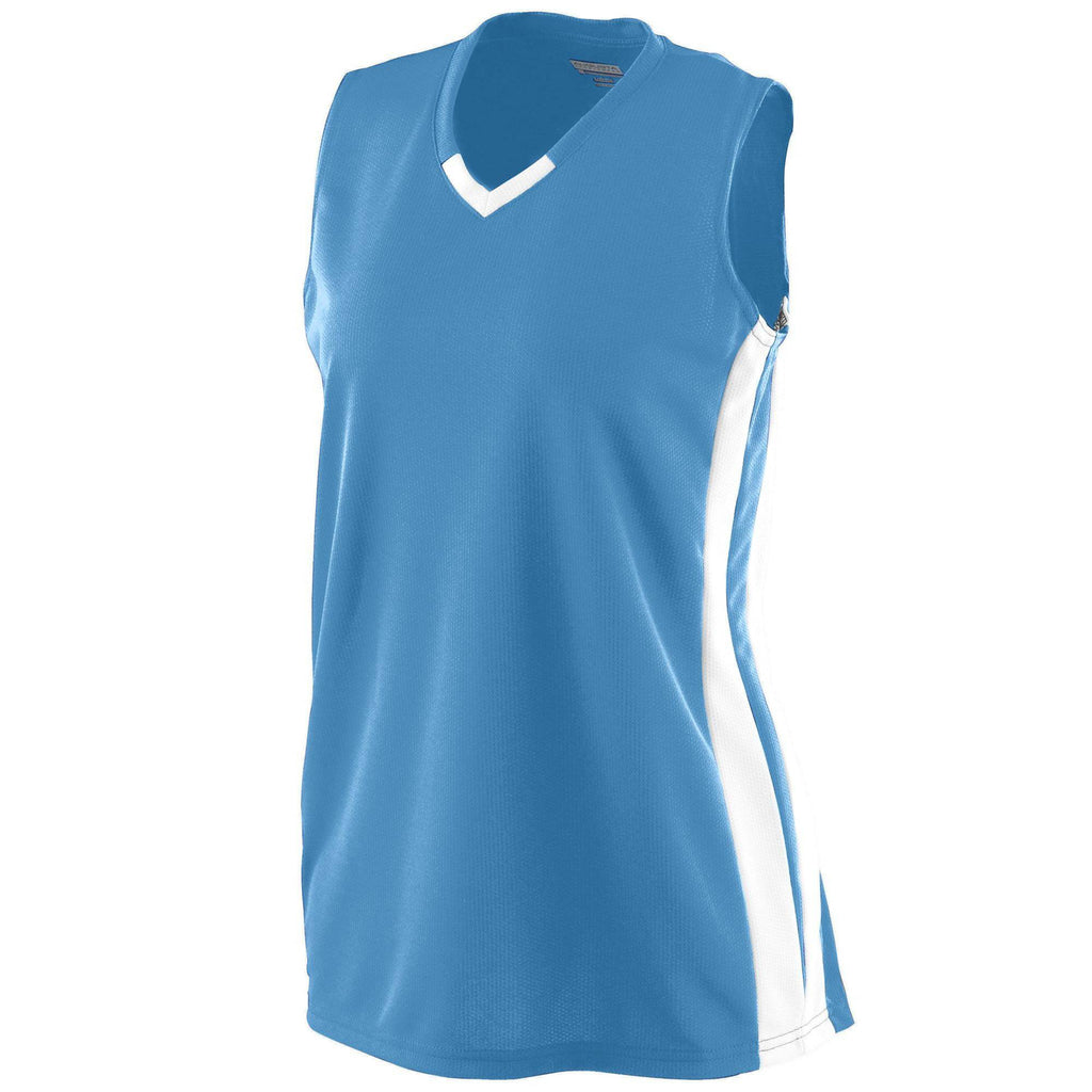 Augusta 528 Girls Wicking Mesh Powerhouse Jersey - Columbia Blue White - HIT A Double
