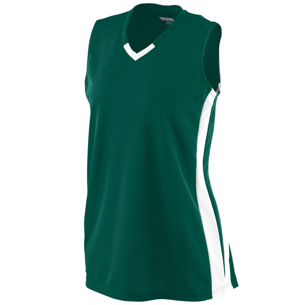 Augusta 528 Girls Wicking Mesh Powerhouse Jersey - Dark Green White - HIT A Double