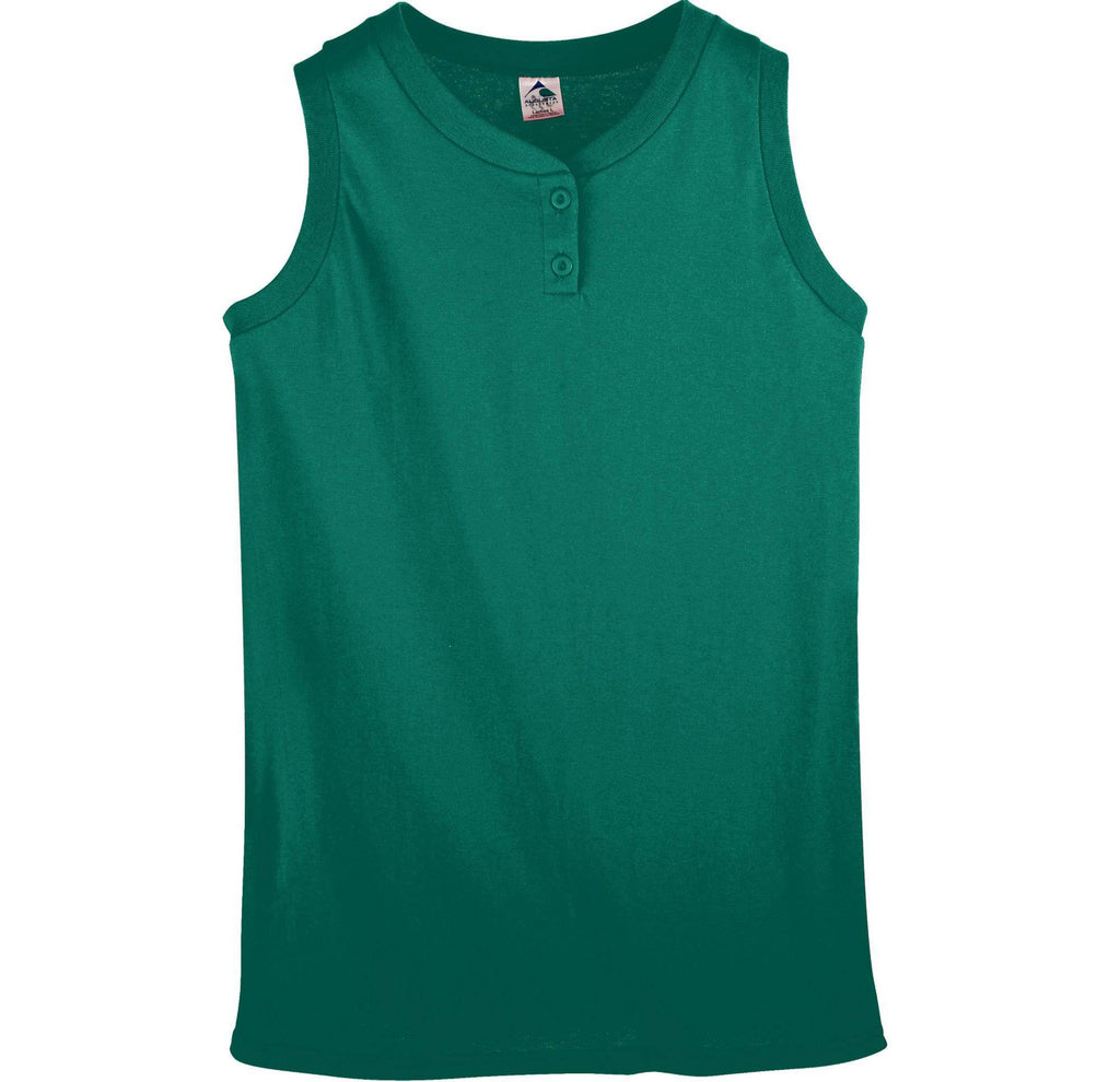 Augusta 550 Ladies Sleeveless Two Button Softball Jersey - Dark Green - HIT A Double