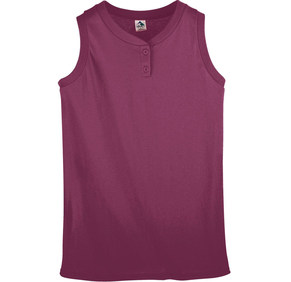 Augusta 550 Ladies Sleeveless Two Button Softball Jersey - Maroon - HIT A Double