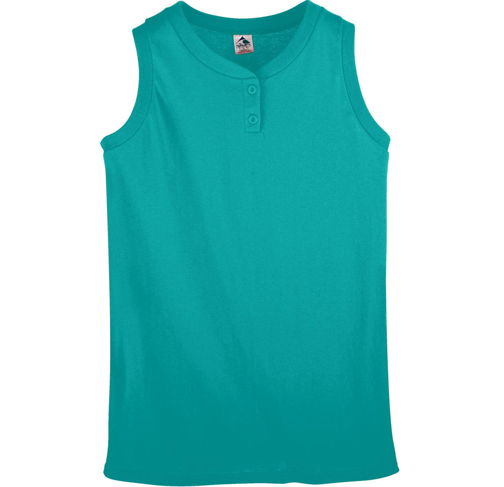 Augusta 550 Ladies Sleeveless Two Button Softball Jersey - Teal - HIT A Double
