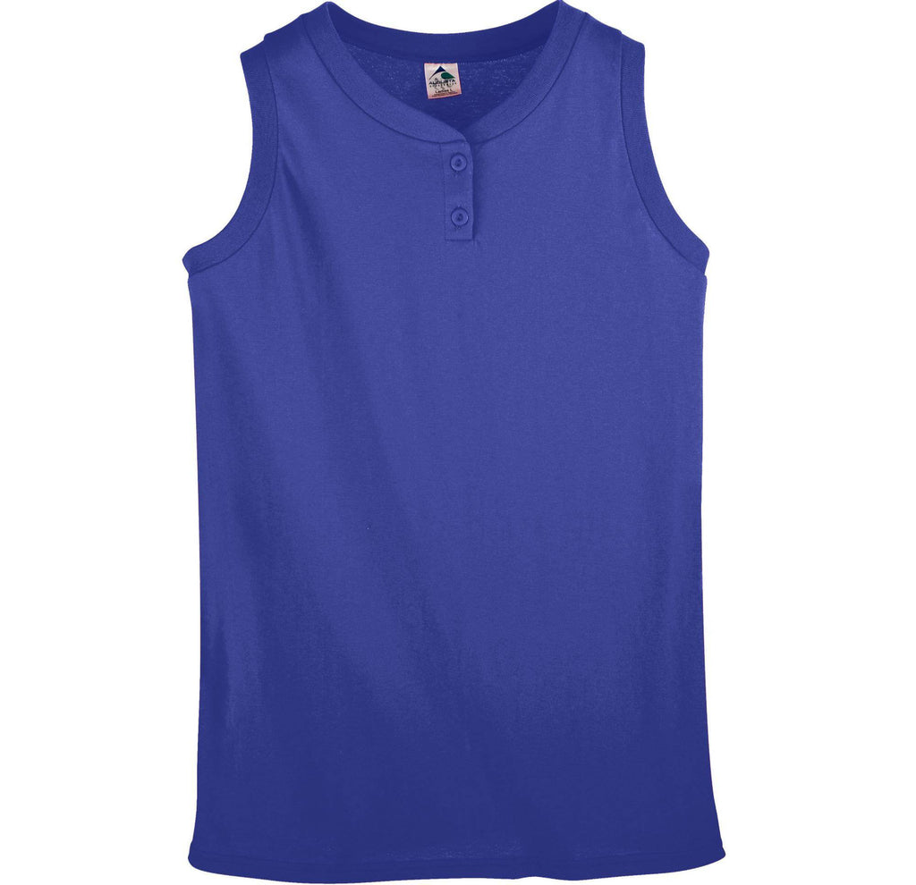 Augusta 551 Girls Sleeveless Two-Button Softball Jersey - Purple - HIT A Double