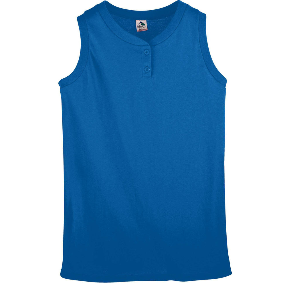 Augusta 551 Girls Sleeveless Two-Button Softball Jersey - Royal - HIT A Double