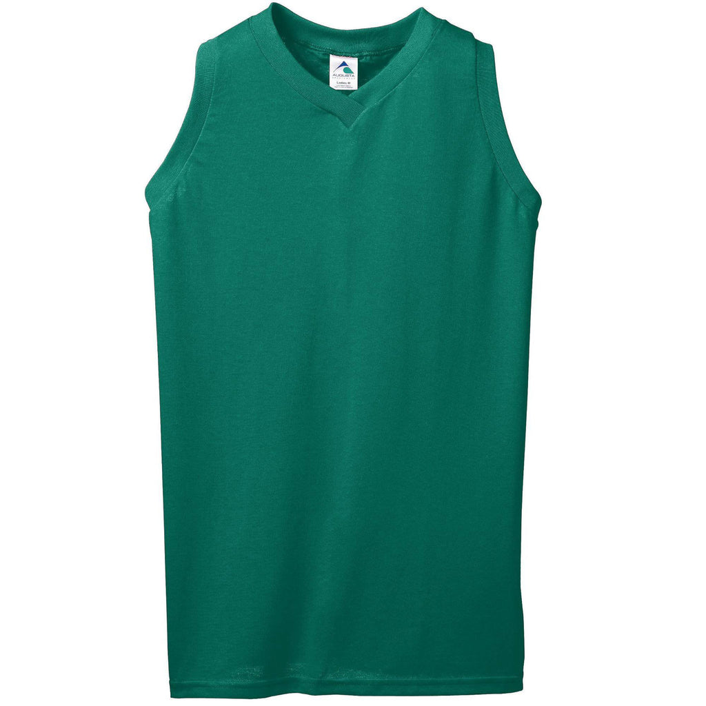 Augusta 557 Girls Sleeveless V-Neck Poly Cotton Jersey - Dark Green - HIT A Double