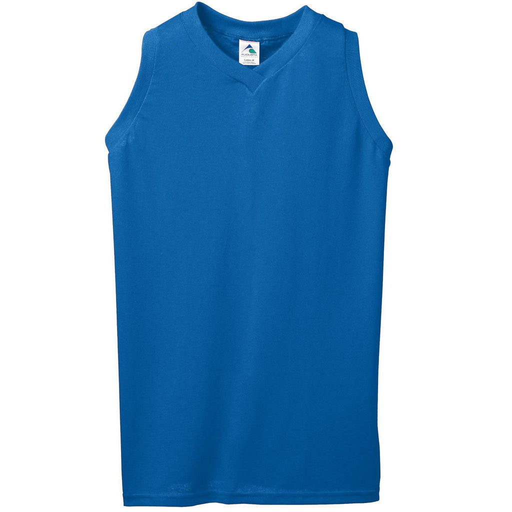 Augusta 557 Girls Sleeveless V-Neck Poly Cotton Jersey - Royal - HIT A Double