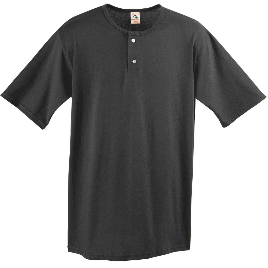 Augusta 580 Two-Button Baseball Jersey - Black - HIT A Double