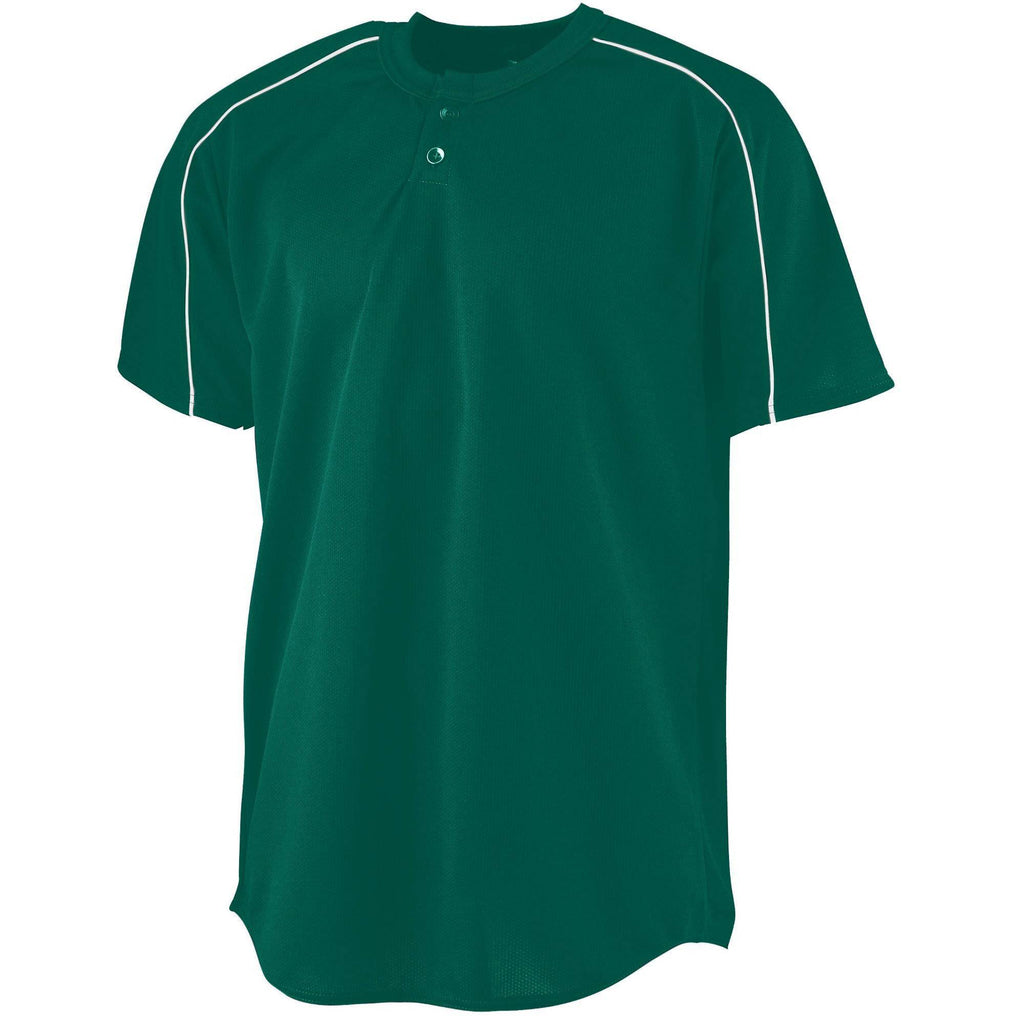 Augusta 585 Wicking Two-Button Baseball Jersey - Dark Green White - HIT A Double