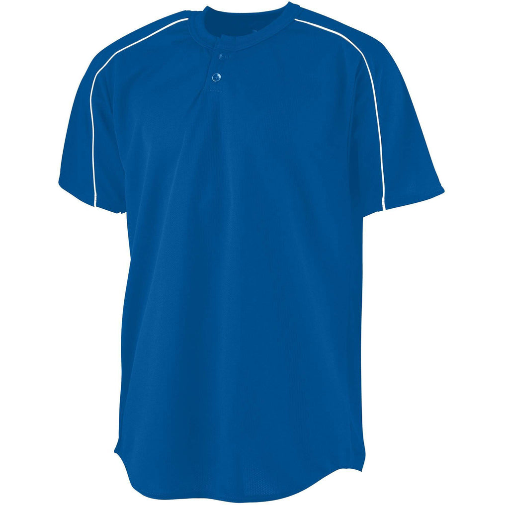 Augusta 586 Wicking Two-Button Baseball Jersey - Youth - Royal White - HIT A Double