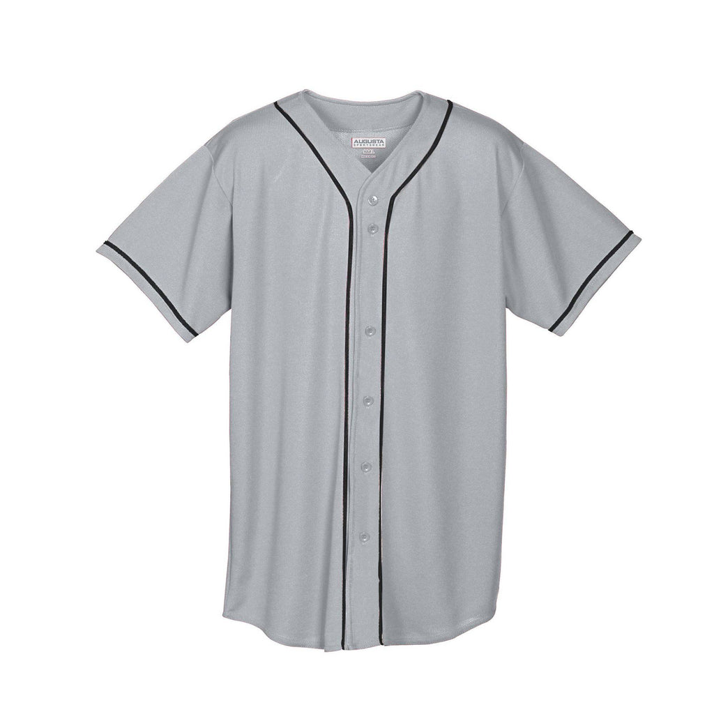 Augusta 593 Wicking Mesh Button Front Jersey with Braid Trim - Gray Bk - HIT A Double