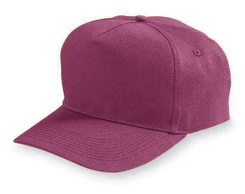 Augusta 6202 Five-Panel Cotton Twill Cap - Maroon - HIT A Double