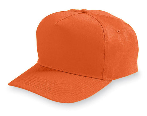 Augusta 6202 Five-Panel Cotton Twill Cap - Orange - HIT A Double