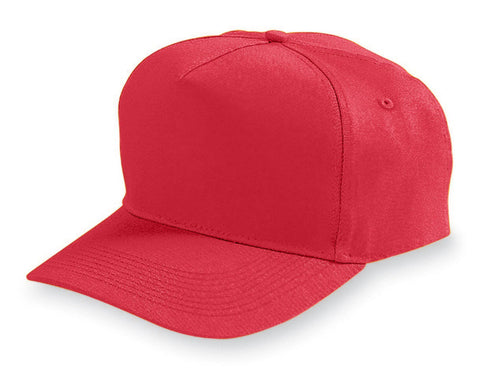 Augusta 6202 Five-Panel Cotton Twill Cap - Red - HIT A Double