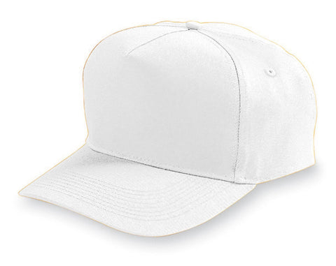 Augusta 6202 Five-Panel Cotton Twill Cap - White - HIT A Double