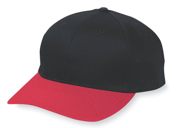 Augusta 6204 Six-Panel Cotton Twill Low-Profile Cap - Black Red - HIT A Double