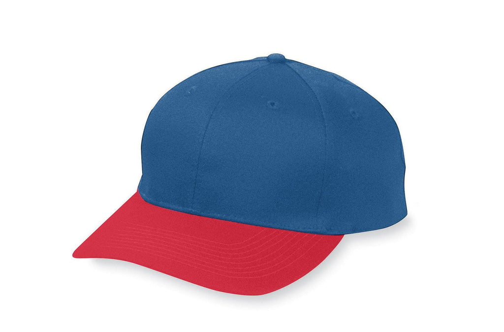 Augusta 6206 Six-Panel Cotton Twill Low-Profile Cap - Youth - Navy Red - HIT A Double