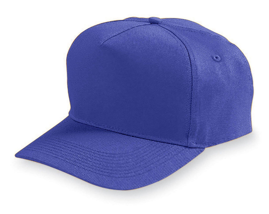 Augusta 6207 Five-Panel Cotton Twill Cap - Youth - Purple - HIT A Double