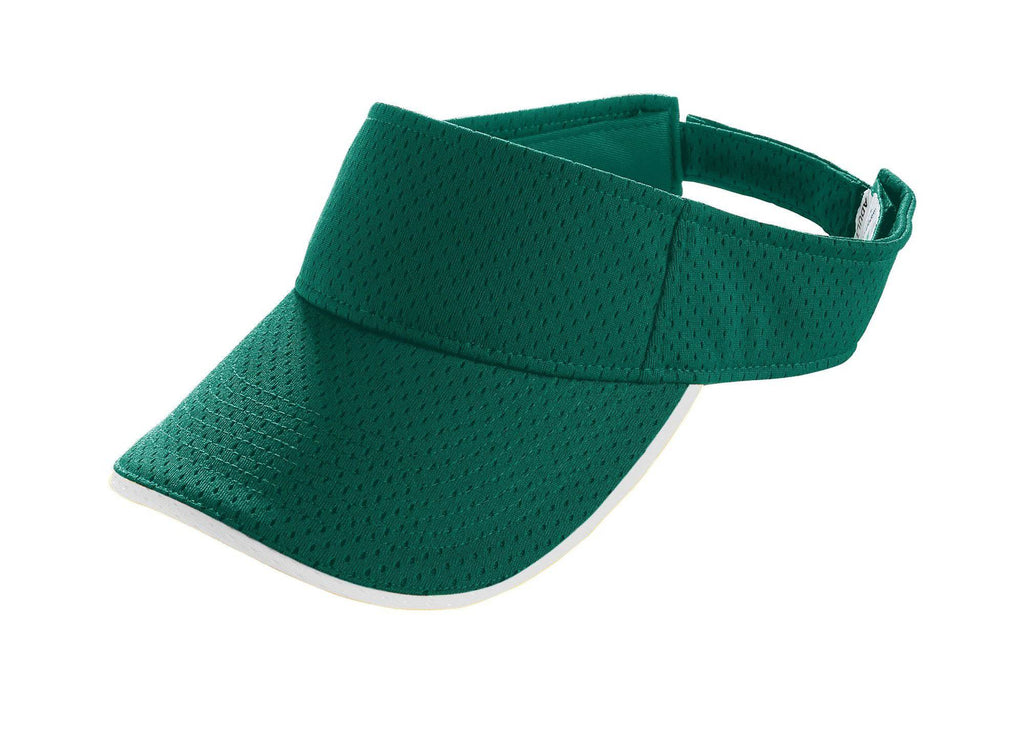 Augusta 6224 Athletic Mesh Two-Color Visor - Youth - Dark Green White - HIT A Double