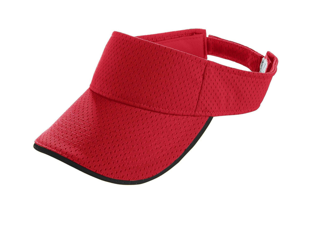 Augusta 6224 Athletic Mesh Two-Color Visor - Youth - Red Black - HIT A Double