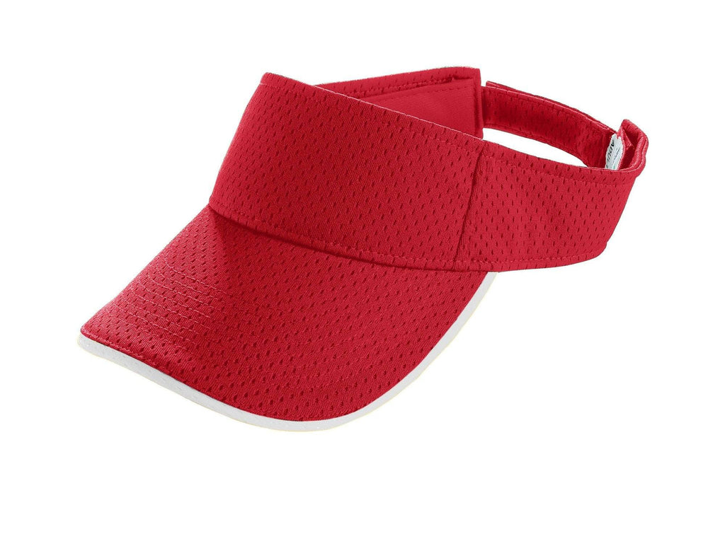 Augusta 6224 Athletic Mesh Two-Color Visor - Youth - Red White - HIT A Double