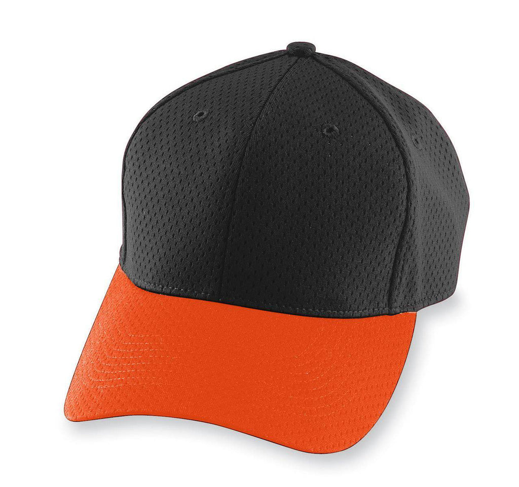 Augusta 6235 Athletic Mesh Cap - Black Orange - HIT A Double