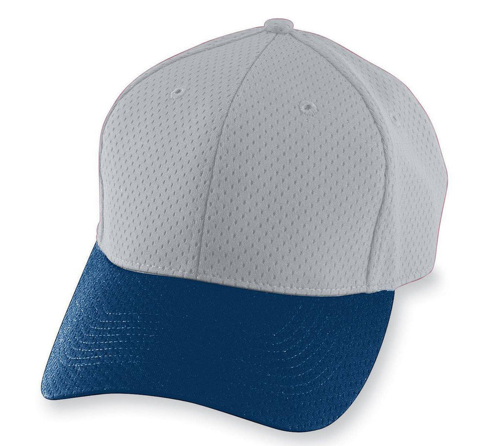 Augusta 6235 Athletic Mesh Cap - Silver Gray Navy - HIT A Double