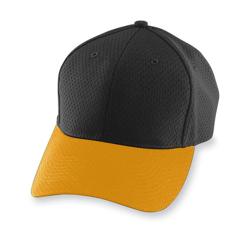 Augusta 6236 Athletic Mesh Cap - Youth - Black Gold - HIT A Double