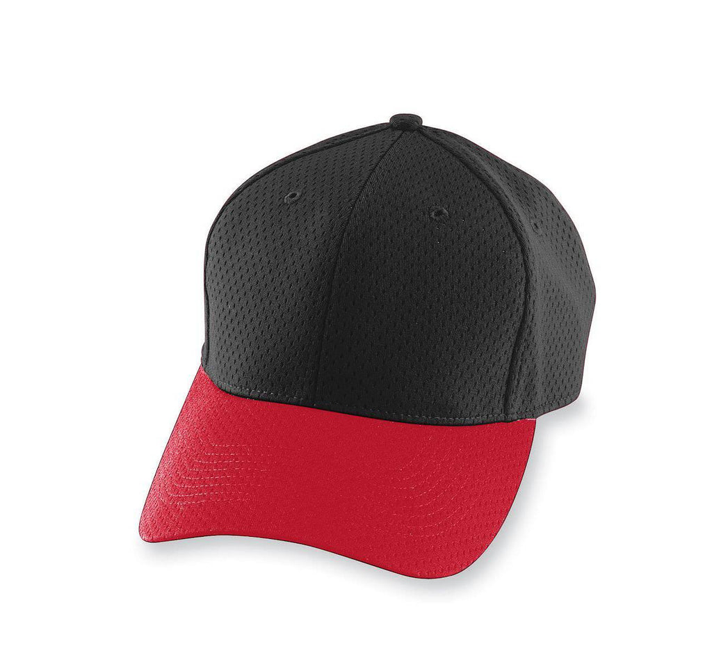Augusta 6236 Athletic Mesh Cap - Youth - Black Red