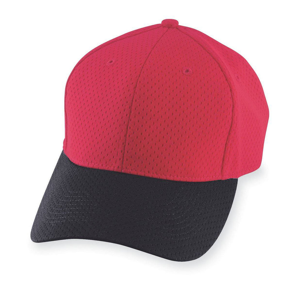 Augusta 6236 Athletic Mesh Cap - Youth - Red Black - HIT A Double