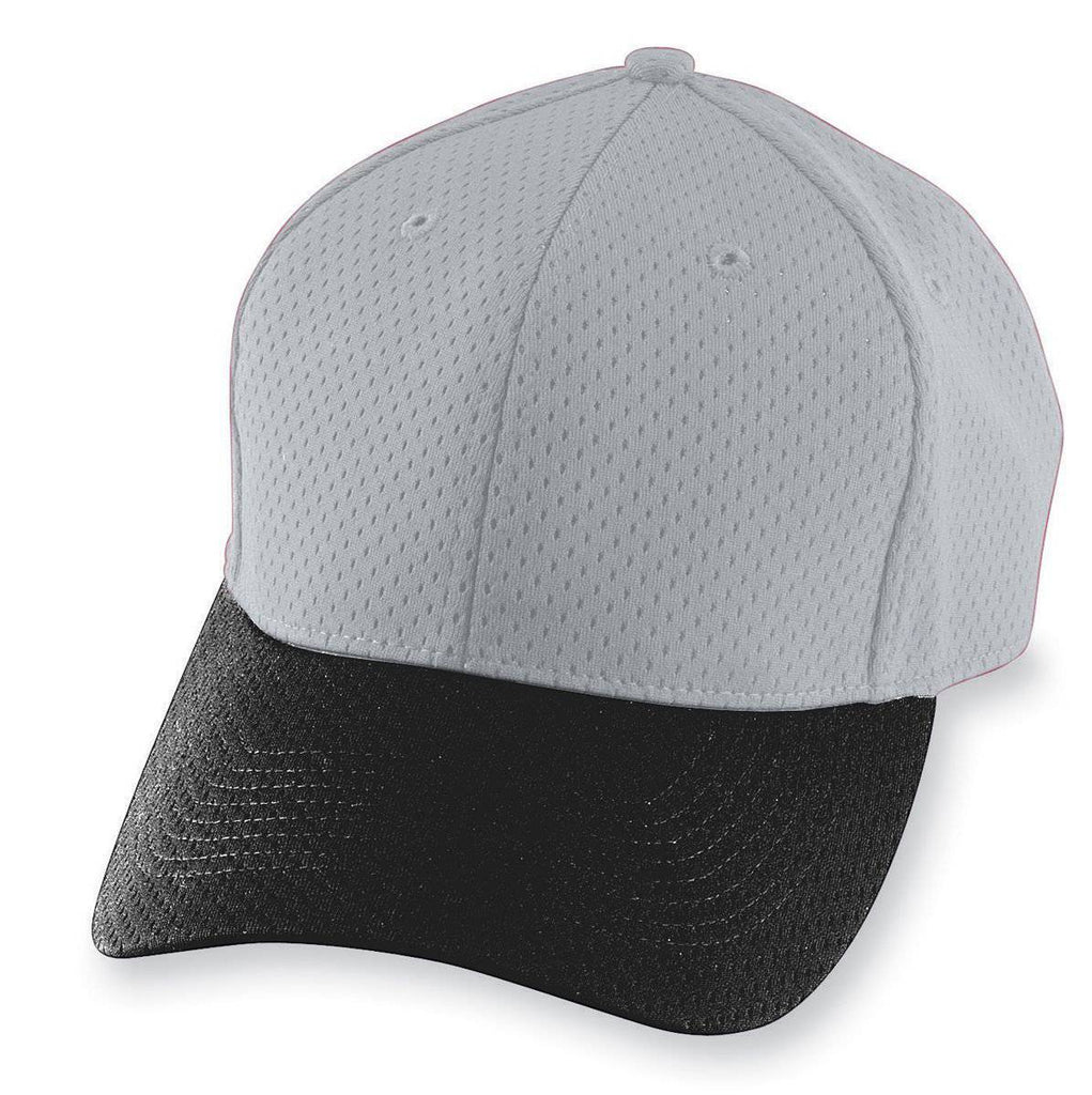 Augusta 6236 Athletic Mesh Cap - Youth - Silver Gray Black - HIT A Double