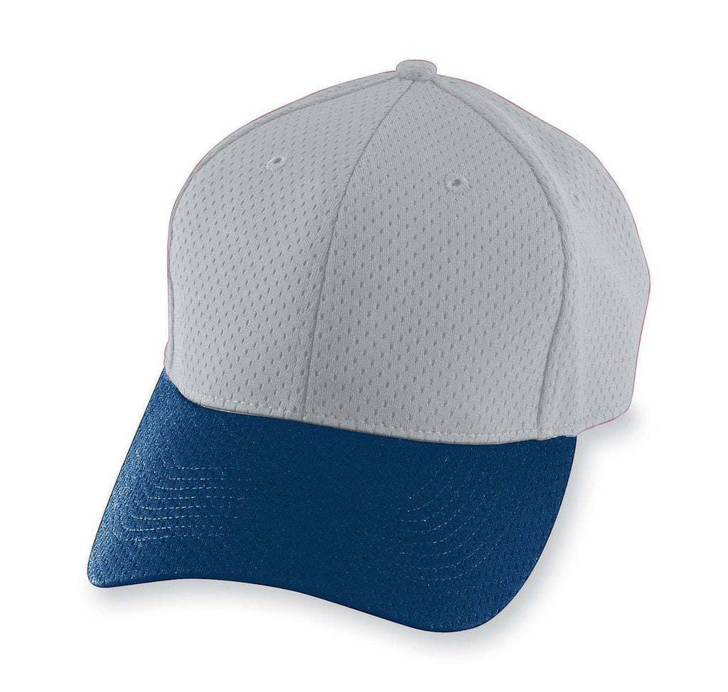 Augusta 6236 Athletic Mesh Cap - Youth - Silver Gray Navy - HIT A Double
