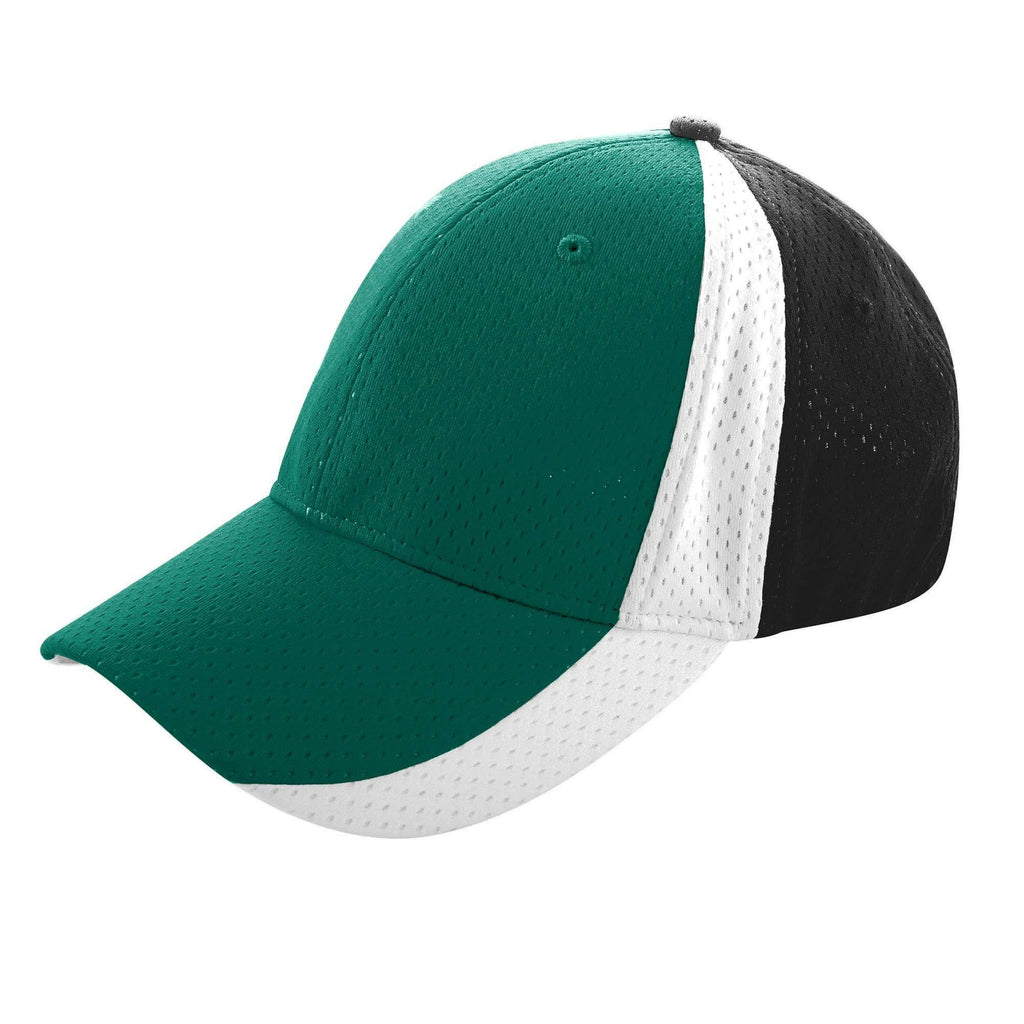 Augusta 6247 Sport Flex Three-Color Athletic Mesh Cap - Dk Green Bk Wh - HIT A Double